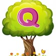A tree with a letter Q — Stock Vector