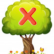 A tree with a letter X — Stock Vector