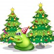 A monster near the christmas trees — Imagen vectorial