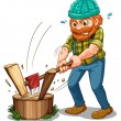 A tired lumberjack — Stock Vector