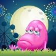 Stock Vector: Problematic pink monster near carnival
