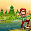 Happy lumberjack at riverbank — Stock Vector #32058651