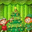 Stock Vector: Two elves near christmas tree