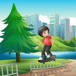 Boy skateboarding near riverbank — Stock Vector #32059321