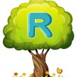 A tree with a letter R — Stock Vector