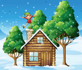 A wooden house with a playful elf at the rooftop — Stock Vector