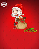 Santa with a brown bag full of gifts — Stock Vector