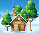 A wooden house with an elf at the top — Stock Vector