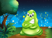 An angry fat monster across the village — Stock Vector