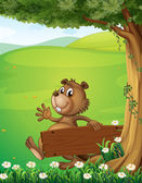 A beaver escaping with an empty wooden signage — Stock Vector