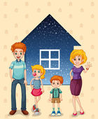 A family in front of the house — Stock Vector