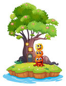 An island with three monsters under the giant tree — Stock Vector