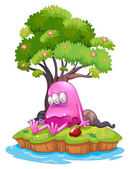 A poisoned monster in an island — Stock Vector