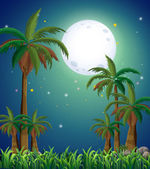A view of the forest under the bright fullmoon — Stock Vector