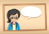 A wooden frame with a strict businesswoman — Stockvector
