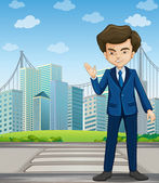 A man at the pedestrian lane across the tall buildings — Stock Vector