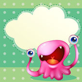 A pink monster with an empty callout at the back — Stock Vector