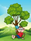 A monkey with a flower sitting under the tree — Stock Vector