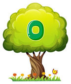 A tree with a number zero figure — Stock Vector