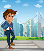 A good-looking businessman at the pedestrian lane across the tal — Stock Vector