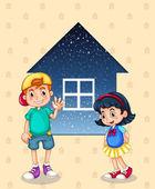 A small boy and a small girl standing in front of the small hous — Stock Vector