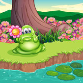 A green monster at the riverbank holding a flower — Stock Vector