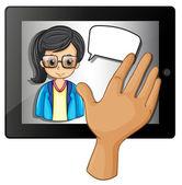 Een hand te tikken op de gadget met een dame met een lege toelichting — Stockvector