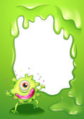 A one-eyed green monster with a pink lips — Stock Vector