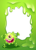 A one-eyed green monster in front of an empty template — Stock Vector