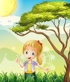 A girl in the forest with a carnival — Stock Vector