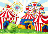 A carnival with a green three-eyed monster — Stock Vector
