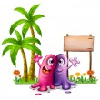 Two monsters near the palm trees — Stock Vector #32060125