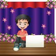 A smiling young boy sitting in the middle of the stage holding a — Stock Vector