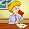 A man drinking while making a report — Imagen vectorial