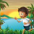 A boy jogging near the river — Stock Vector