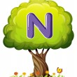 Tree with letter N — Stock Vector #32060553