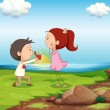 A boy making a marriage proposal at the riverbank — Stock Vector #32060571