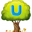 A tree with a letter U — Stock Vector