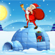 Santstanding above igloo — Stock Vector #32060627