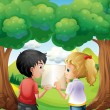 Two kids discussing at the forest — Stock Vector