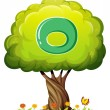 Stock Vector: Tree with letter O