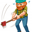 A tired lumberjack with an axe — Stock Vector