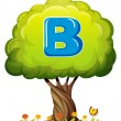 A tree with a letter B — Stock Vector