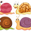 Four snails with different shells — 图库矢量图片