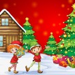 Vector de stock : Two playful dwarves near the christmas trees