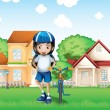 A smiling girl and her bike near the big houses — Stock Vector