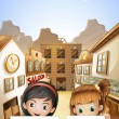 Two kids near the saloon bars holding two empty signboards — Stock Vector