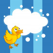 An empty cloud template with a yellow chick — Stok Vektör