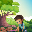 A boy watching the rocks in the forest — Stock Vector