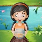 A smiling young girl holding an aquarium — Stock Vector
